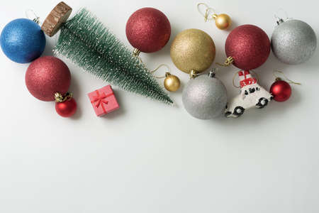 Christmas background of new year decorations 2021 on a light background.