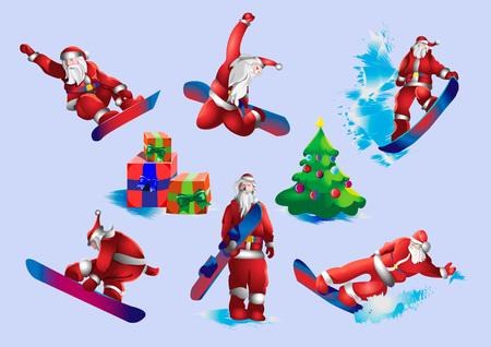 Set van Santa Claus snowboarden illustratie.