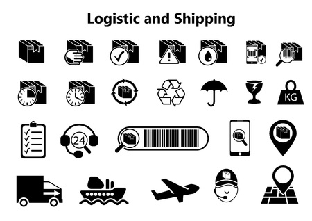 Logistics and Shipping icons - Priority Shipping, Express Delivery, Tracking Order - Expand to any size - Change to any color - Vector logistics line style symbols collection