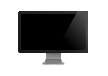 Computer display with blank black screen isolated. Computer desktop vector. Monitor mockup illustration Illustration