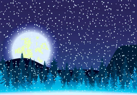 Colorful, night, winter vector image with the image of the forest and the moon.
