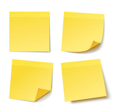 yellow paper: yellow stick note paper isolated on white background, vector illustration Illustration