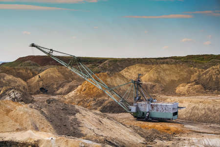 dragline: Dragline excavator in a clay quarry near the town of Polohy in the Zaporizhya region of Ukraine. September 2005 Stock Photo