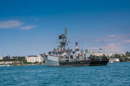 A warship in the Bay of Sevastopol. Crimea, Ukraine. June 2006