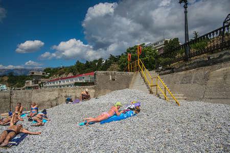 Breakwater at the beach of boarding house Coastal in the village Otradnaya, Big Yalta , Crimea , Ukraine. June 2006