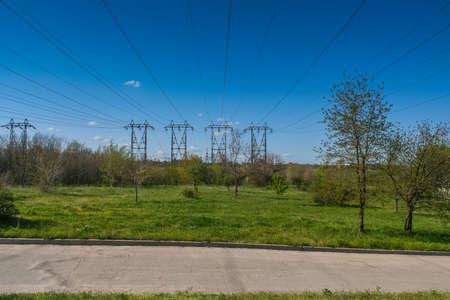 hydroelectric station: Electricity transmission line from the DNIPRO HYDROELECTRIC STATION on the island of Khortytsya. Zaporozhye , Ukrane. April 2008