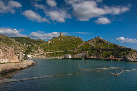 Genoese fortress above the harbour in Balaklava. Crimea, Ukraine. May 2017 Editorial
