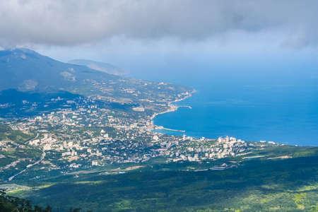 City view of Yalta to AI-Petri mountain. Crimea, Ukraine. May 2008 Editorial