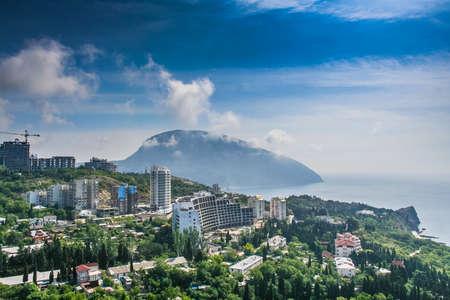 View of the village of Gurzuf and mount Ayu-Dag. Big Yalta, Crimea, Ukraine. May 2008