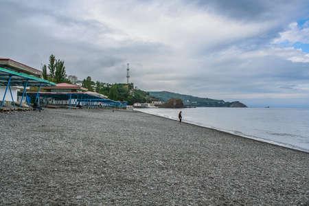 The beach of sanatorium Crimea in Partenit. Crimea, Ukraine. May 2008 Stock Photo