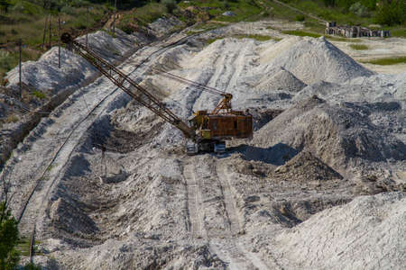 fireclay: Extraction of kaolin in the clay quarry near the town of Pology. Zaporozhye region, Ukraine. May 2017 Stock Photo