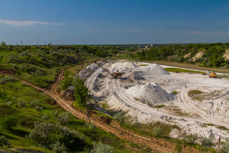 Extraction of kaolin in the clay quarry near the town of Pology. Zaporozhye region, Ukraine. May 2017 Stock Photo