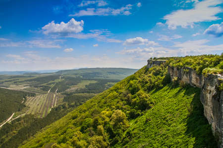 Chufut-Kale, formerly Kirk-Or (Judean Fortress) is a medieval fortress town in the mountainous region of the Crimea, 3 km east of Bakhchisaray, now in ruins. Crimea, Ukraine Stock Photo
