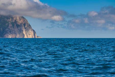 ridge of wave: Rocky coast of the Black Sea near the village of Balaclava. Crimea, Ukraine. May 2009 Stock Photo
