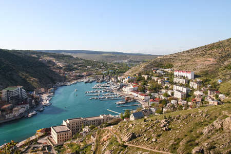Balaklava bay and the Genoese fortress. Balaklava, Crimea, Ukraine. May 2009 Stock Photo
