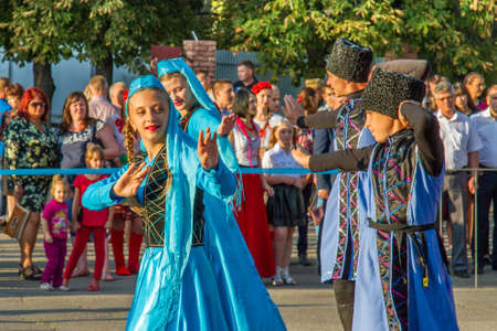 Celebrations of the Independence Day of Ukraine in the city of the Pology of Zaporozhye region of Ukraine. Performs childrens artistic collective. August 2017 Editorial