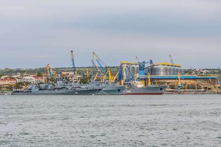 The ships of the Ukrainian Navy are the Hetman Sagaidachny frigate (U130), the Slavutich ship (U-510, now occupied by the Russian Federation) and the Donbas boarder ship (U130) in Sevastopol Bay. Crimea, Ukraine. May 2009