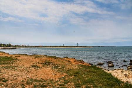 Rocky beach in the vicinity of Abramov Bay. Sevastopol, Crimea, Ukraine. Stock Photo