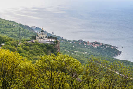 Church of the Resurrection of Christ - Orthodox church over the village of Foros, built in 1892 on a steep cliff - the Red Rock. The height of the building above sea level is 412 meters. Krym, Ukraine. May 2009