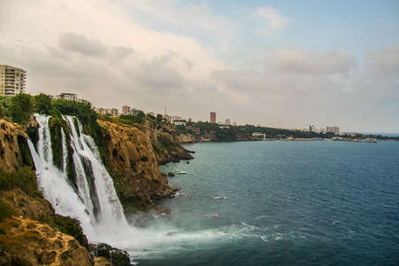 Karpuzkaldiran - Lower Dyudensky waterfall in the city of Antalya. Turkey, the Mediterranean Sea. July 2009