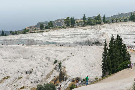 The white travertines of the Ancient City of Hierapolis and the springs of Pamukkale (Pamukkale, the