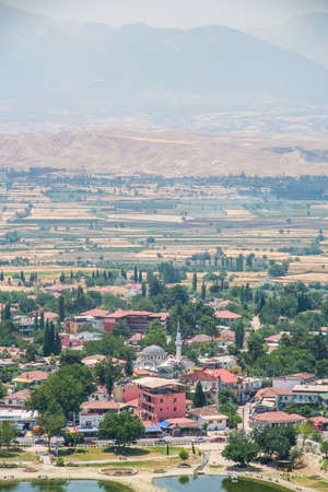 The city of Pamukkale in the province of Denizli in the south-west of Turkey. Turkey. July 2009 Редакционное