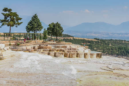 Travertine (Tiburian stone) - calcareous tuff, polycrystalline, brittle fine-grained, homogeneous rock formed by calcium carbonate minerals (mainly aragonite with a smaller fraction of calcite), calcareous deposits of carbonic sources in Pamukkale. Turkey