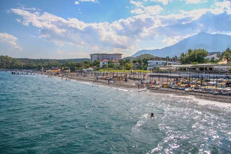 The resort coast of the Mediterranean Sea in the village of Camyuva near the town of Kemer. Antalya, Turkey. July 2009