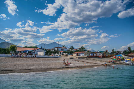 The resort coast of the Mediterranean Sea in the village of Camyuva near the town of Kemer. Antalya, Turkey. July 2009 Stok Fotoğraf - 89902937