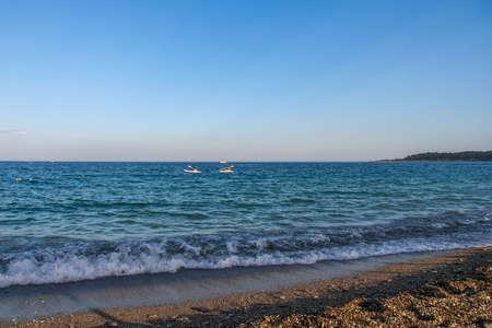 The resort coast of the Mediterranean Sea in the village of Camyuva near the town of Kemer. Antalya, Turkey.