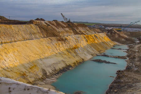 Clay quarry in the Zaporozhye region on a winter morning. Ukraine. December 2017 Reklamní fotografie