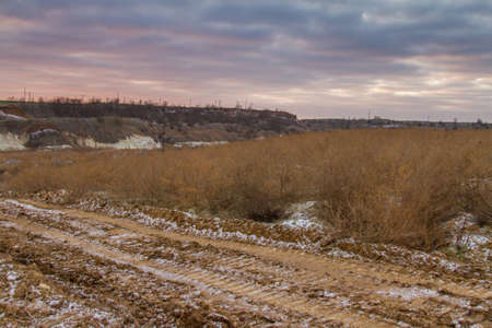 Clay quarry in the Zaporozhye region on a winter morning. Ukraine. December 2017 Stock Photo