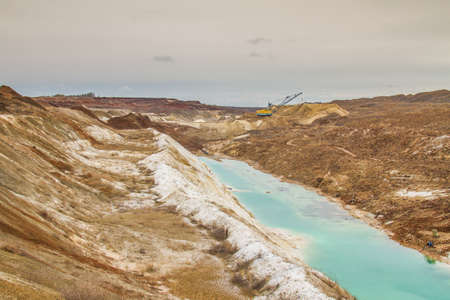 Clay quarry in the Zaporozhye region on a winter morning. Ukraine. December 2017 Reklamní fotografie - 92528875