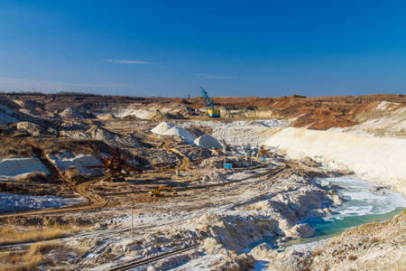 Winter clay quarry in the Zaporozhye region. Ukraine. January 2018 Editorial