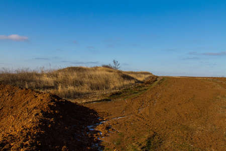 Arable land in the taurian steppe near the Sea of Azov in the Zaporozhye region. Ukraine. January 2018