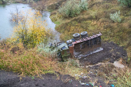 The car dump fell into the old quarry. People did not suffer. Zaporozhye region, Ukriana.