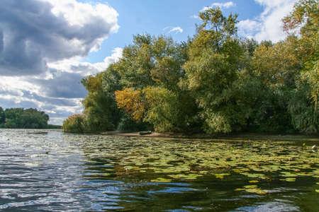 Kushugum floods in autumn. Dnipro River, Kakhovskoye Reservoir, Zaporizhzhya Oblast, Ukraine. Stok Fotoğraf