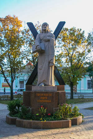 Monument to St. Andrew the Apostle in the city of Theodosius. Crimea, Ukraine. November 2011 Editorial