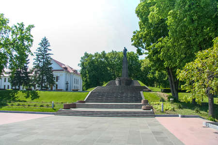 Territory of the memorial - The grave of Ukrainian poet Taras Shevchenko in Kanev on the Black Mountains. It is part of the Shevchenko National Reserve. City of Kanev, Cherkasy region, Ukraine. May 2011 Editorial