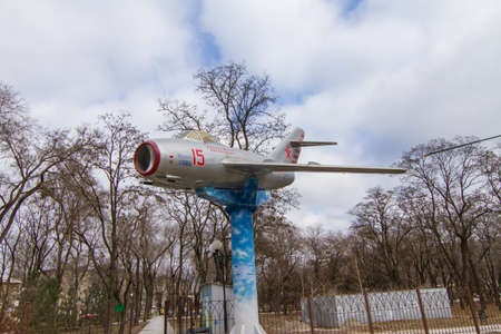 MiG-15 (product C, aircraft I-310, according to NATO codification: Fagot) - Soviet fighter (The most massive jet combat aircraft) in the Boguslayev Technology Museum in Zaporozhye. Ukraine. February 2019