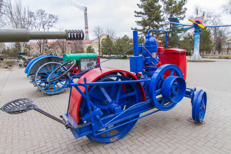 Zaporozhets is the first Soviet tractor produced by the Kitskassk oil engine plant (Zaporizhia) at the Boguslayev Technology Museum in the city of Zaporozhye. Ukraine. February 2019