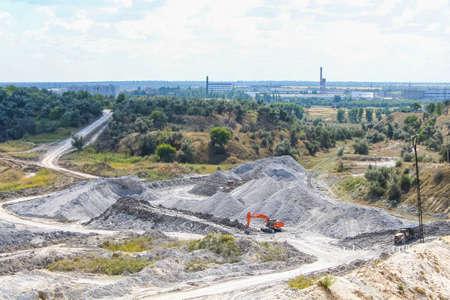 Rotary excavator in kaolin quarry. Zaporozhye region, Ukraine. November 2012 Banque d'images