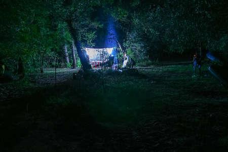 Night camp of hunters on the island in the Dnieper River near the village of Kushugum. Zaporizhia region, Ukraine. September 2012