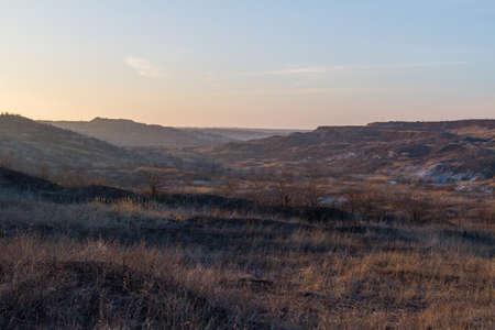 Winter Tavrian steppe. Zaporozhye region, Ukraine. February 2019