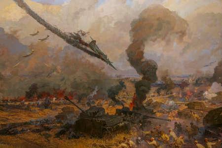 Diorama dedicated to Prokhorovsky tank battle. Museum