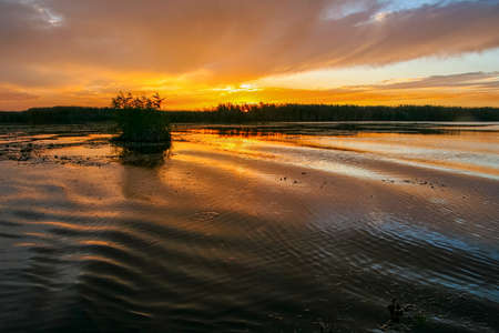 Beautiful sunset in the Kushugum floodplains on the Dnipro River on a warm autumn day. Zaporizhzhya region, Ukraine. September 2012.