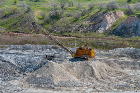Extraction of refractory clay and kaolin in a quarry. Zaporizhzhya region, Ukraine. April 2014