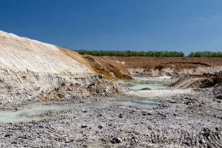 mined-out space after extraction of refractory clay in a clay quarry. Zaporozhye region, Ukraine.