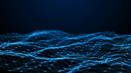 Network connection dots and lines. Technology background. Plexus. Big data background. 3d rendering. 免版税图像