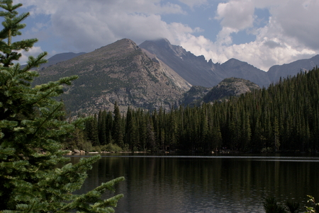 geological formation: Scenic view of the mountains and the lake, Bear Lake, Rocky Mountains National Park, Colorado Stock Photo